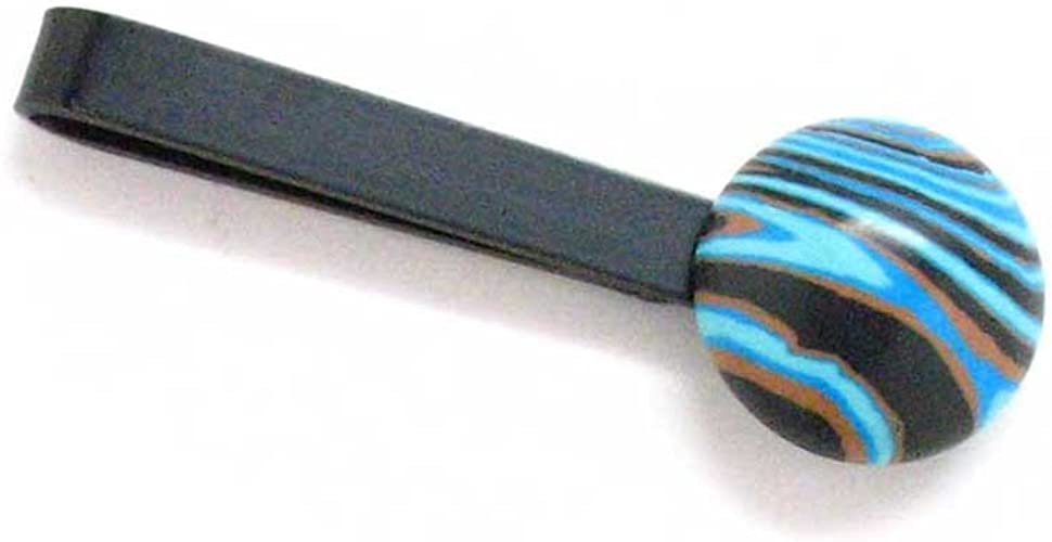 Marcos Villa Saturn Stone Tie Bar Clip Orange Blue Strip Swirl Tiebar Tieclip Suit Classy Classic Simple Space Star
