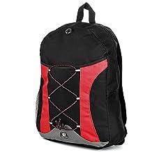 """SumacLife Canvas Athletic Ultra-Lightweight Sport Backpack / Shoulder Bag / School Backpack / Trave Bag / Laptop Bag Fits 14"""" 15"""" 16"""" inch(Red/Black)"""