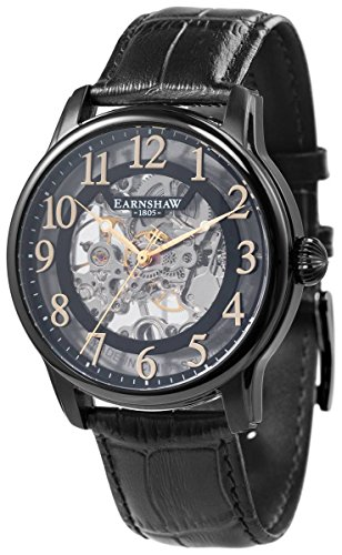 Thomas Earnshaw Mens The Longitude Skeleton Watch - Black/Black