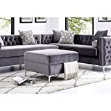 Giovanni Grey Velvet Storage Ottoman - Chrome Legs | Square | Modern and Contemporary | Inspired Home