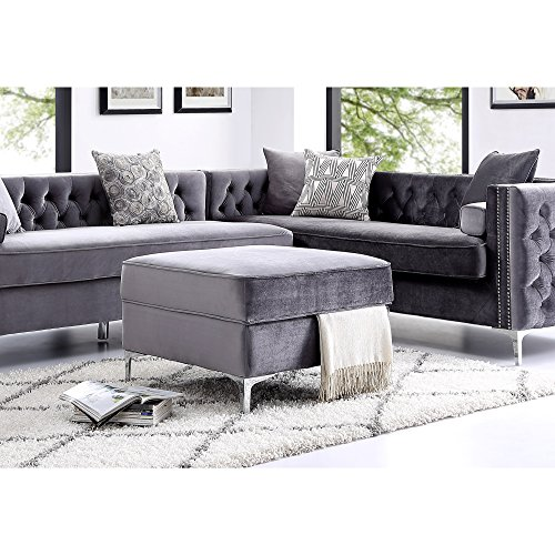 Inspired Home Grey Velvet Ottoman – Design: Giovanni | Storage | Chrome Legs | Square | Modern and Contemporary For Sale