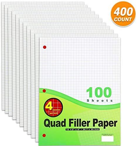 Emraw 10-2,5 cm Füllpapier, vierfach liniert, lose Blätter, mit 3 Löchern, perfekt für Daten und 2D-Graphen