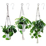 Yotako Rope Hanging Planter, 3 Pattern Indoor Macrame Plant Hanger with 3 Hanging Hooks, Large & Small Hanging Plant Holders, Flower Pot Holder for Ceiling Outdoor Garden Hanging Basket Holder