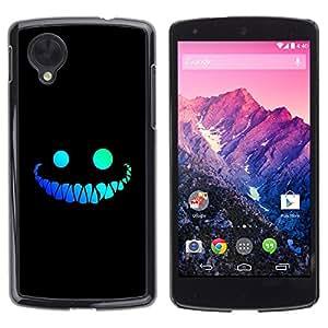 TopCaseStore / la caja del caucho duro de la cubierta de protección de la piel - Cool Funny Face Smile Evil Teeth Black - LG Google Nexus 5 D820 D821