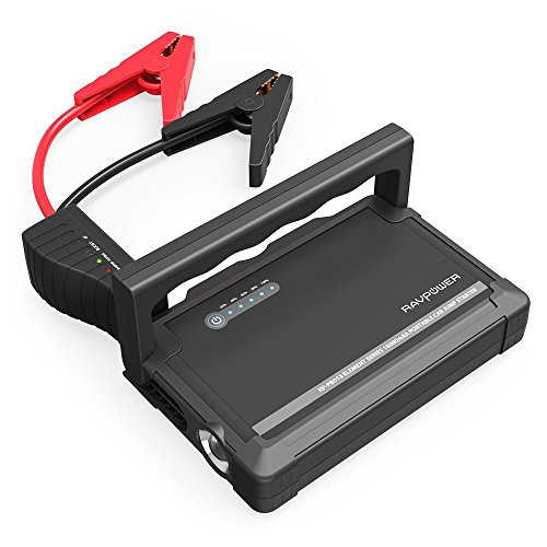Car Jump Starter RAVPower 600A Peak 18000mAh 12V (Up to 6L Gas or 3L Diesel Engine) External Battery Pack with Dual iSmart USB Ports Built-in LED Flashlight Car Battery Booster (White)