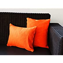 Store Indya Set of 2 Cushion Covers Hand Woven Orange Pure Cotton Throw Pillow Case Home Sofa Decor
