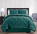 Oxford Decorative Pinch Pleat Comforter Set, 4 Pieces, Hypoallergenic Comforter, Down Alternative Fill, Queen, Teal