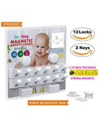 Baby & Child Proof Cabinet & Drawers Magnetic Safety Locks Set of 12 with 2 Keys By Eco-Baby Heavy Duty Locking System with 3M Adhesive Tape Easy To Install Without Damaging Your Furniture BOBEBE Online Baby Store From New York to Miami and Los Angeles