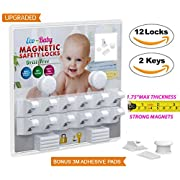 Baby & Child Proof Cabinet & Drawers Magnetic Safety Locks Set of 12 with 2 Keys By Eco-Baby Heavy Duty Locking System with 3M Adhesive Tape Easy To Install Without Damaging Your Furniture