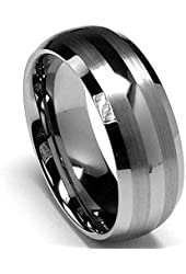 King Will Men's 8mm Tungsten Carbide Ring Wedding Engagement Band Matte/Brushed Finish Lines