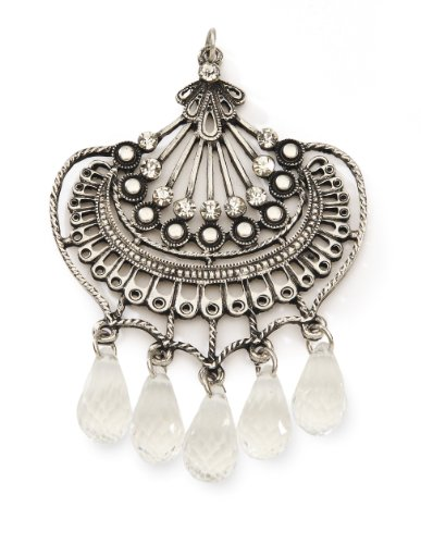 - Styled by Tori Spelling (TM) Fan Pendant W/Crystals-Antique Silver 1/Pkg