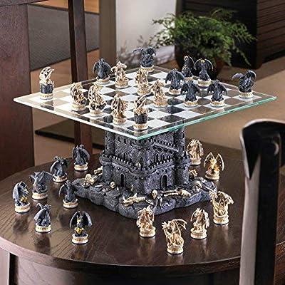 SKB Family Black Tower Dragon Chess Set Battle Board Castle Battles contests Polyresin Glass