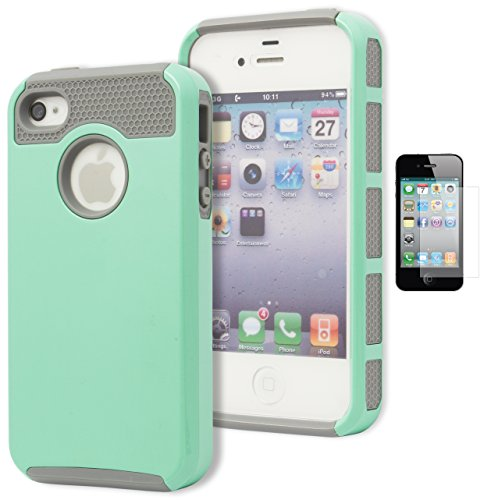 (iPhone 4 Case, Bastex Heavy Duty Hybrid Protective Case - Soft Silver Grey Silicone Cover Hard Teal Case for Apple iPhone 4, 4g, 4s 4gsINCLUDES Screen Protector )