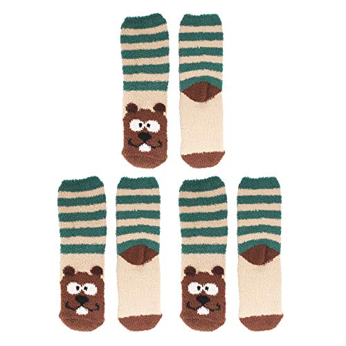Fuzzy Beaver (Women's Super Soft Warm Microfiber Fuzzy Cozy Animal Socks, 01 Beaver - 3 Pairs Value Pack)