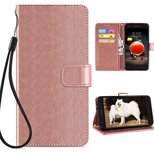 IRUNME LG Aristo 2 Wallet Case,LG Tribute Dynasty(Empire)/Zone 4/K8/Fortune 2/Risio 3/Aristo 2 Plus/K8+/Phoenix 4/Rebel 4/Aristo 3 Phone Case with Leather Card holder,Kickstand for Men/women Rose Gold
