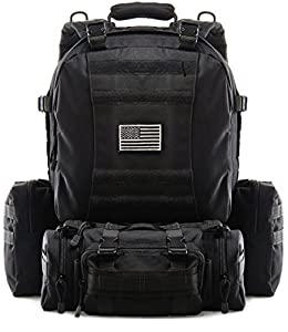 Tactical Military Backpack Outdoor 3-day Assault Pack 50L Rucksack 1000D Army Molle Bug Out Bag Perfect for Hiking Trekking Travelling and Hunting