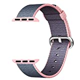Hailan Apple Watch Band Series 1 Series 2,Fine Woven Nylon Wrist Strap Replacement with Classic Buckle for iwatch,42mm,Lightpink and Midnightblue