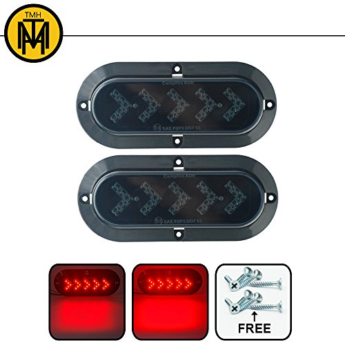"TMH ( Pack of 2 ) 6"" 25 ARROW LED Surface Mount Oval Smoked Lens / Red Light Turn Signal Side Marker Tail LED Light for Truck Trailer Trail Bus 12V DC"