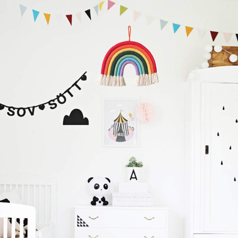 Kylewo Rainbow macrame wall hanging handwoven wall hanging room decoration apisserie woven wall art for living room bedroom baby nursery nursery