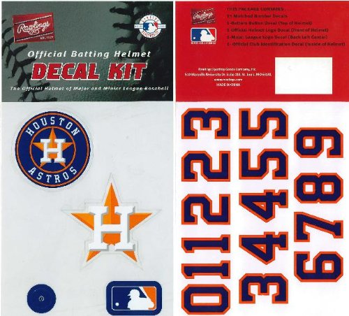 Houston Astros Stickers (Authentic MLB Official Batting Helmet Decal Kit from Rawlings)