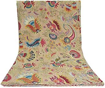Handmade Kantha Quilt Cotton Traditional Mukut Print Single Kantha Quilt Kantha Blanket Bed Cover Twin Kantha Bedspread Bohemian Bedding