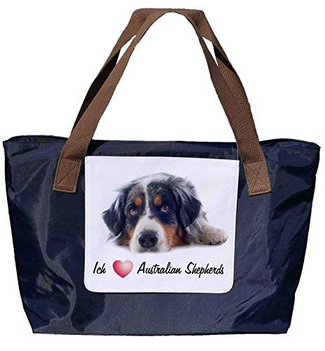 Shopper /Schultertasche / Einkaufstasche / Tragetasche / Umhängetasche aus Nylon in Navyblau - Größe 43x33cm - Motiv: Australian Shepherd mit Spruch - 01