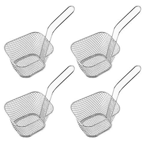 Serving Square Basket - 4 Pieces Mini Square Fry Baskets 3.7×1.65×2inch Odowalker Table Serving Frying Fries Chips Baskets French Fries Desk Food Presentation Mesh Basket Kitchen Cooking Tool