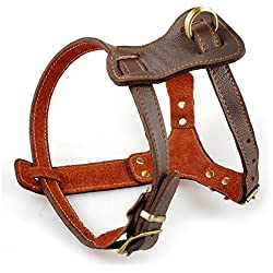 New Comfort Brown Leather Pet Dog Harness For Large Dogs Pitbull Husky Boxer (chest 30-34``)