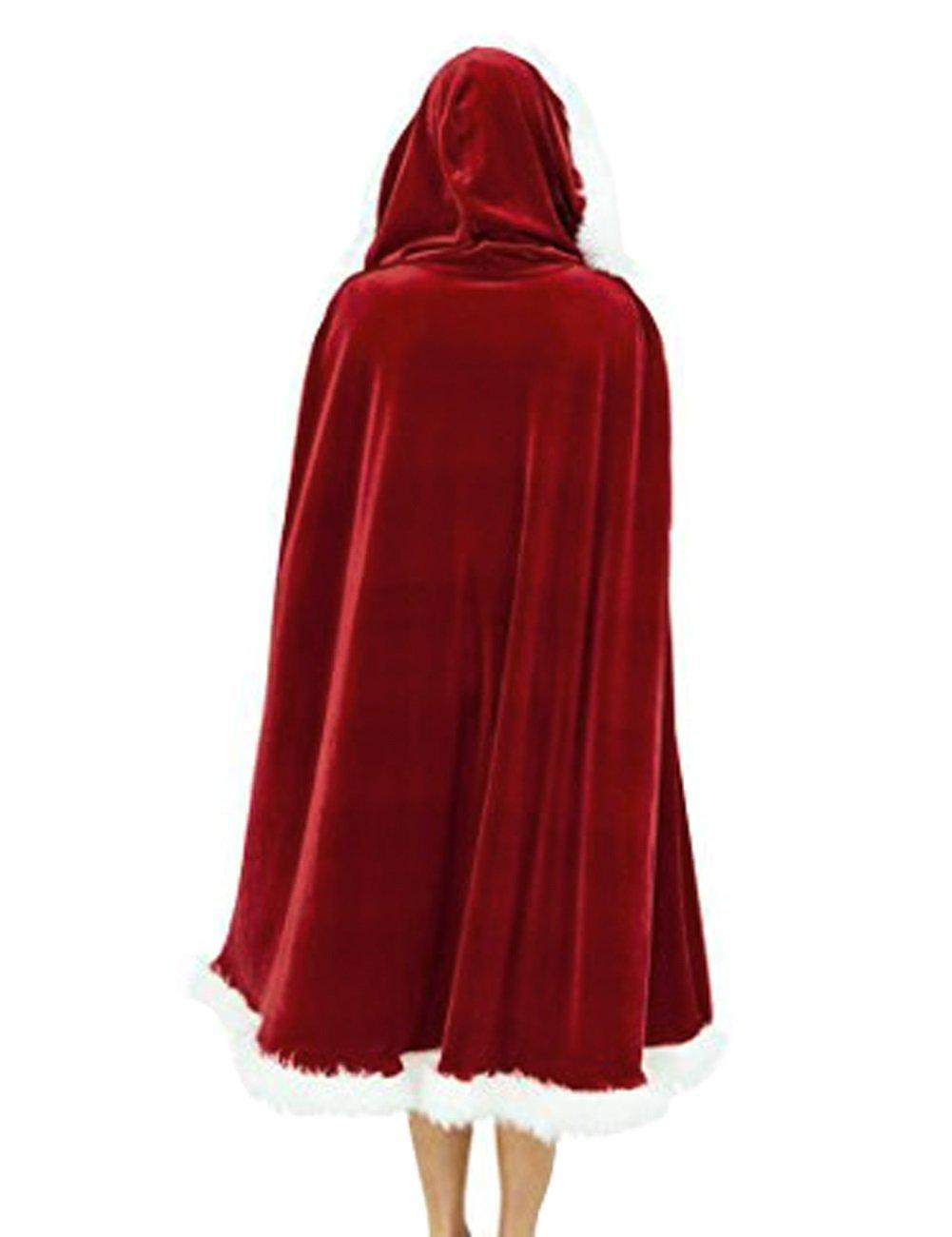Womens Christmas Hooded Cloak Adult Mrs Santa Claus Xmas Cape Fancy Happy Dress