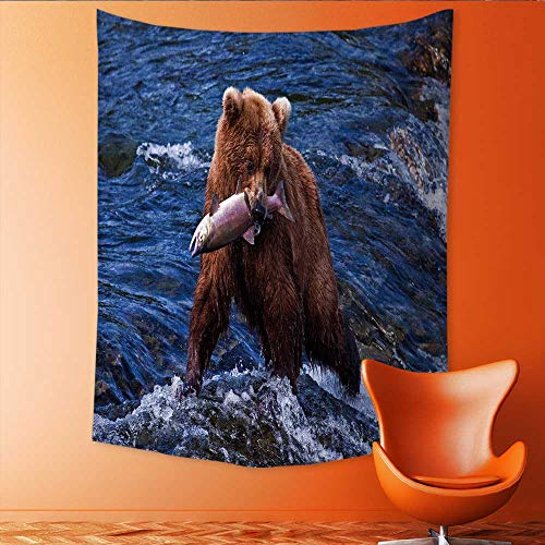 Auraisehome Vertical Version Tapestry Grizly Bears at Katmai National Park Alaska Throw, Bed, Tapestry, or Yoga Blanket 60W x 91L INCH