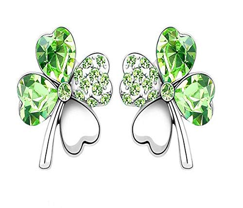 World Pride Lucky Crystal Four Leaf Clover Stud Earrings