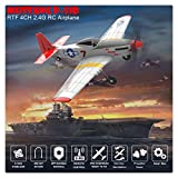 BLACKOBE RC Plane, Remote Control Airplane Glider 761-5, Mustang P-51D 4CH, 6-axis Stabilizer, Safe Aircraft for Beginners to Expert, Kids 14+, Christmas Halloween New Year Gift (L:15.7in W:12.5in)