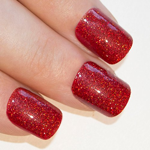 Bling Art False Nails French Fake Red Gel Glitter Squoval 24 Acrylic Medium (Fake Red Nails)