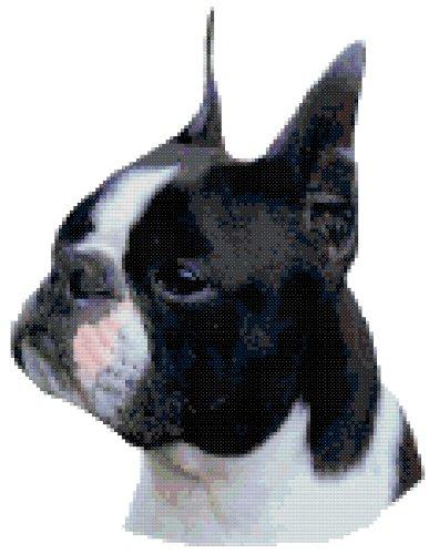 Black Boston Terrier Dog Portrait Counted Cross Stitch Pattern