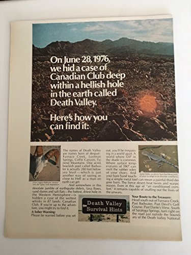 1976 Canadian Club Whisky Death Valley Two Page Magazine Print Advertisement Lot of - Whiskey Valley