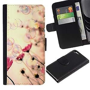 WINCASE Cuadro Funda Voltear Cuero Ranura Tarjetas TPU Carcasas Protectora Cover Case Para Apple Iphone 5 / 5S - burbujas de jabón primavera viñeta rosa