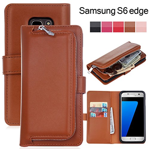 Dreams Mall(TM)Samsung Galaxy S6edge,2 in 1 Leather Zipper Wallet Case Protection with Detachable Magnetic - Bag Frame B4