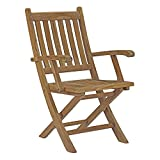 Modway Marina Teak Wood Outdoor Patio Folding Armchair in Natural Review