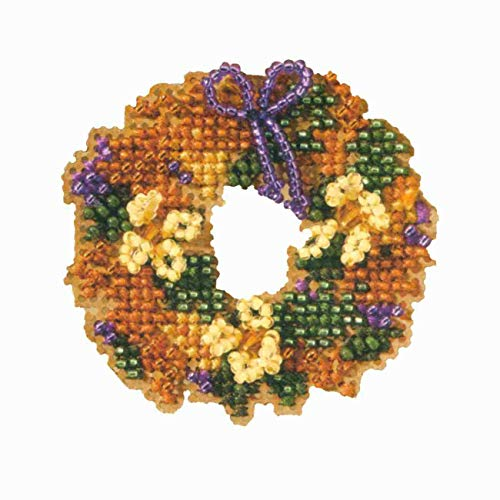 - Fall Wreath Beaded Counted Cross Stitch Ornament Kit Mill Hill 2007 Autumn Harvest MH18-7206