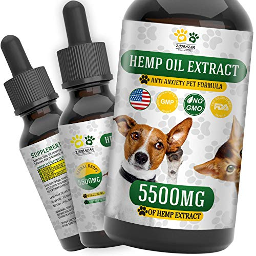 (Hemp Oil for Dogs, Cats and All Pets, 5500 mg, 100% Organic Treat and Food Supplement Grown, Natural Support for Hips & Joints, Provides Anxiety Relief, Better Mood and Sleep)
