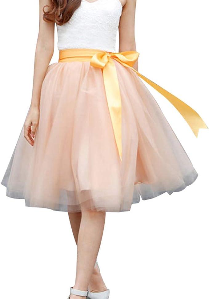 Juleya 6 Capas 60cm Falda Tul Midi Faldas Plisadas para Mujer ...