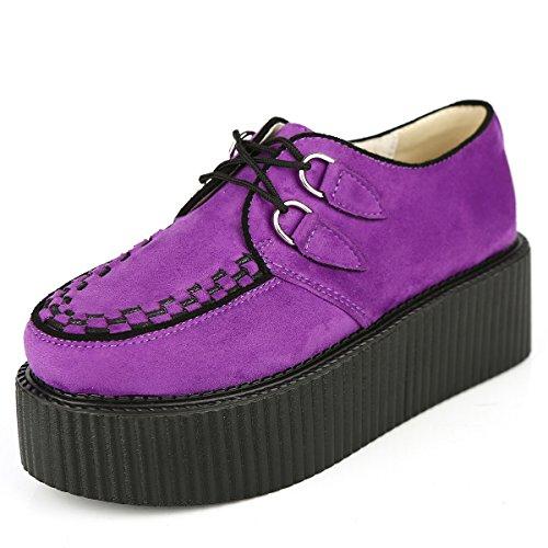Gote Punk RoseG Plateauschuhe Schnürschuhe Violett Schuhe Damen Flache Creepers pwIqIXrP