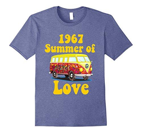 Mens 1967 Summer of Love Retro Tees Vintage Sixties Hippie Shirt 2XL Heather - 60s Retro Fashion