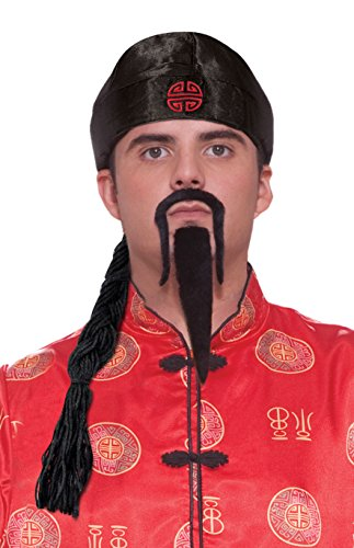 Chinese Man Costume Amazon (Forum Novelties Men's Chinese Man Pig Tail Hat Costume Accessory, Black, One Size)