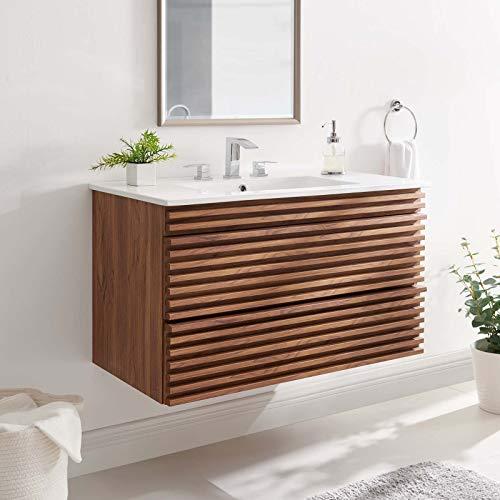 Modway Render 36″ Wall-Mount Bathroom Vanity in Walnut White
