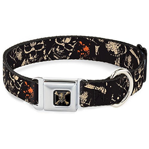 Dog Collar Seatbelt Buckle Pirates Skulls Scattered Splatter Black Tan Red 9 to 15 Inches 1.0 Inch Wide