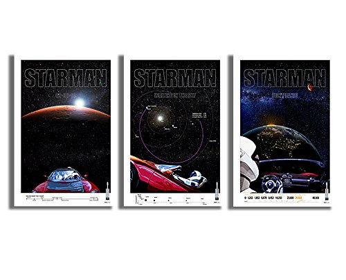 """SpaceX Falcon Heavy Rocket Launch Tesla Roadster & Starman FULL SET Commemorative Posters I,II,III - Giclee Prints - Premium Paper 200 Year Archival inks - Wall Art 12"""" x 18"""" Ready-to-frame"""