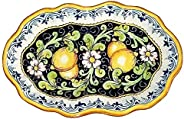 CERAMICHE D'ARTE PARRINI - Italian Ceramic Art Pottery Serving Bowl Centerpieces Tray Plate Hand Painted Decorative Lemons M