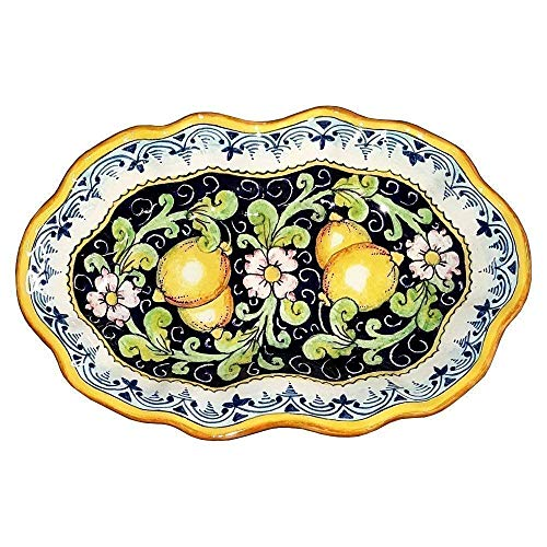 (CERAMICHE D'ARTE PARRINI - Italian Ceramic Art Pottery Serving Bowl Centerpieces Tray Plate Hand Painted Decorative Lemons Made in ITALY Tuscan )