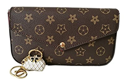 Womens Monogram Canvas Flap Purse Small Chain Cross Body Bag